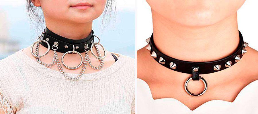 collares punk de cuero con cadenas y remaches